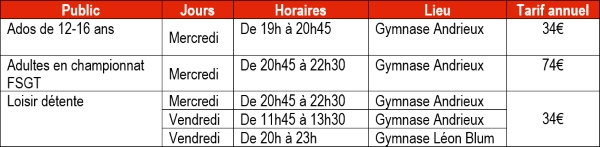 Horaires, tarifs Volley ball