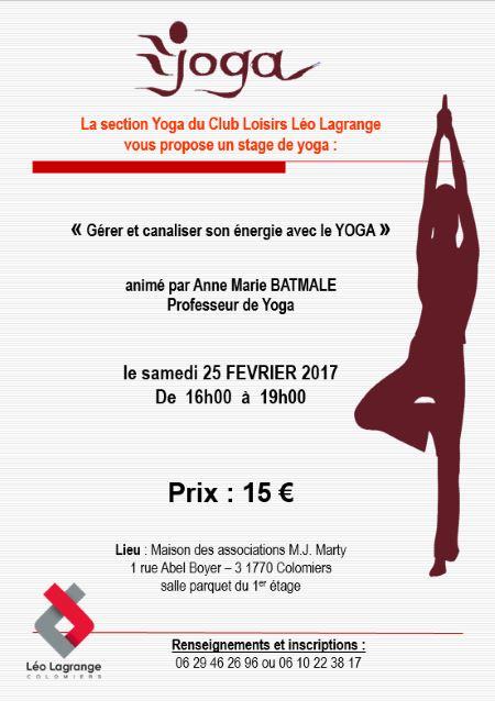 Stage de Yoga le samedi 25 février 2017 à Colomiers