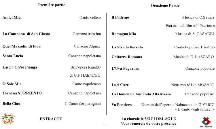 Programme du concert de la Chorale Italienne Le Voci del Sole