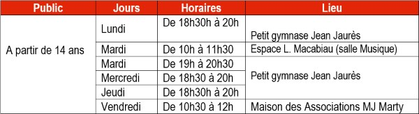 Horaires Yoga