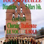 Concert Le Voci del Sole – Tournefeuille le 5 mars 2017