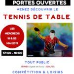 Journées portes ouvertes Tennis de Table – 15 et 22 mai 2019